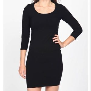 M. Rena Low-Back 3/4th Sleeve Fitted Dress Black